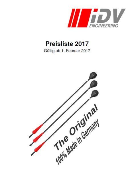 Scrrenshot Deckblatt Preisliste